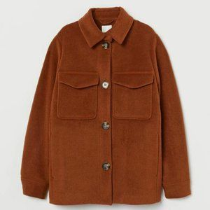 H&M Small Shirt Jacket Brown Button Down $59